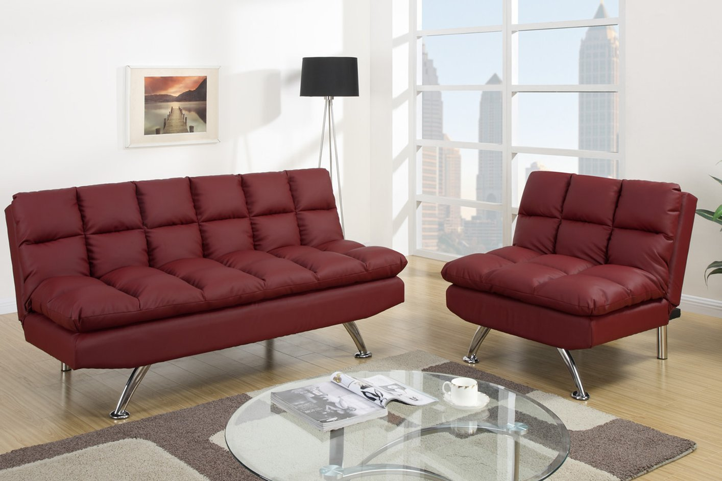 white twin sofa bed 3 seater leather with recliner red futon