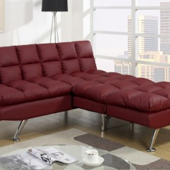 Twin Sofa Bed Leather Firm Cushion Poundex F7017 Red Size Steal A