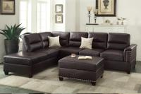 Poundex Rousey F7609 Brown Leather Sectional Sofa - Steal ...