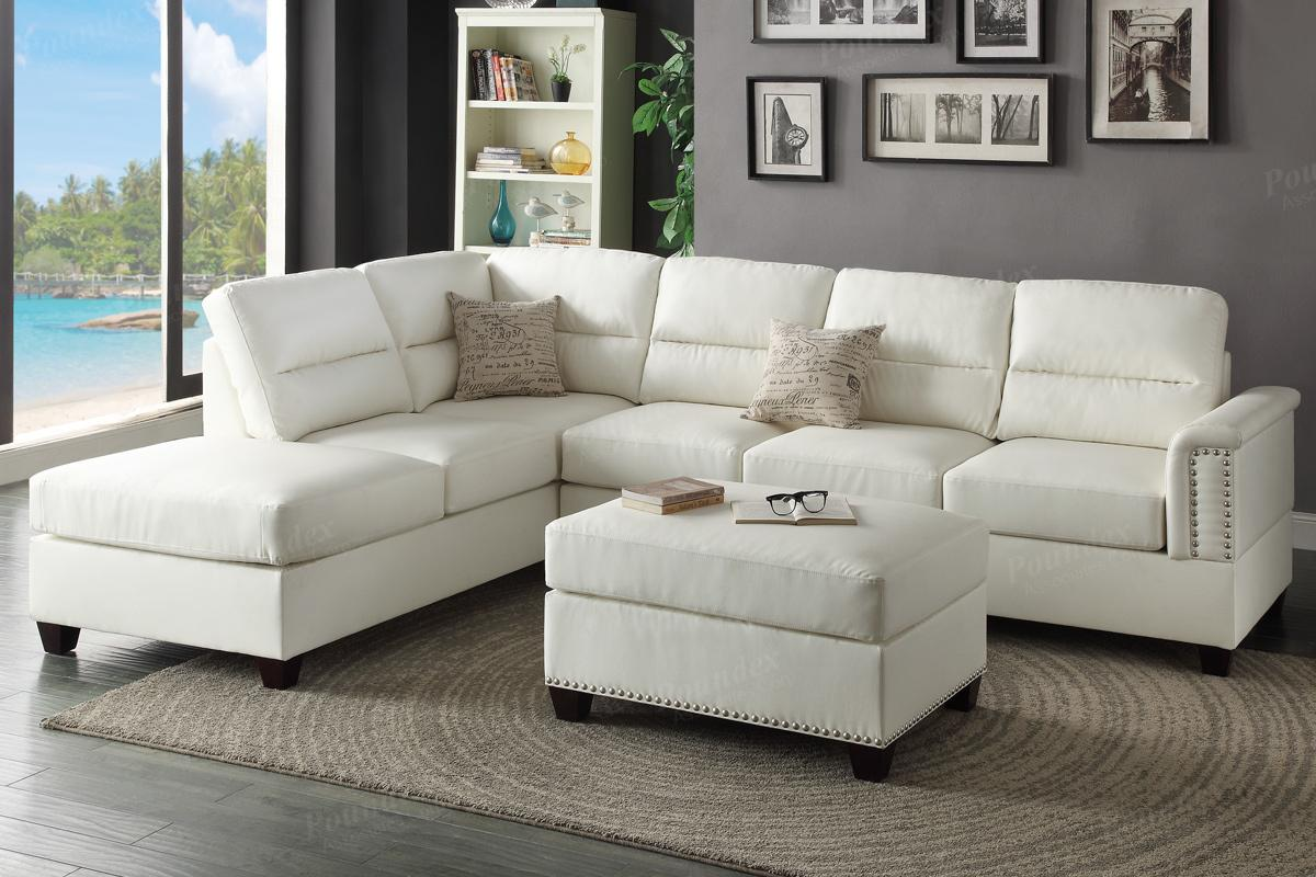 white leather sectional sofa with ottoman fabric stain protection poundex rousey f7610 and