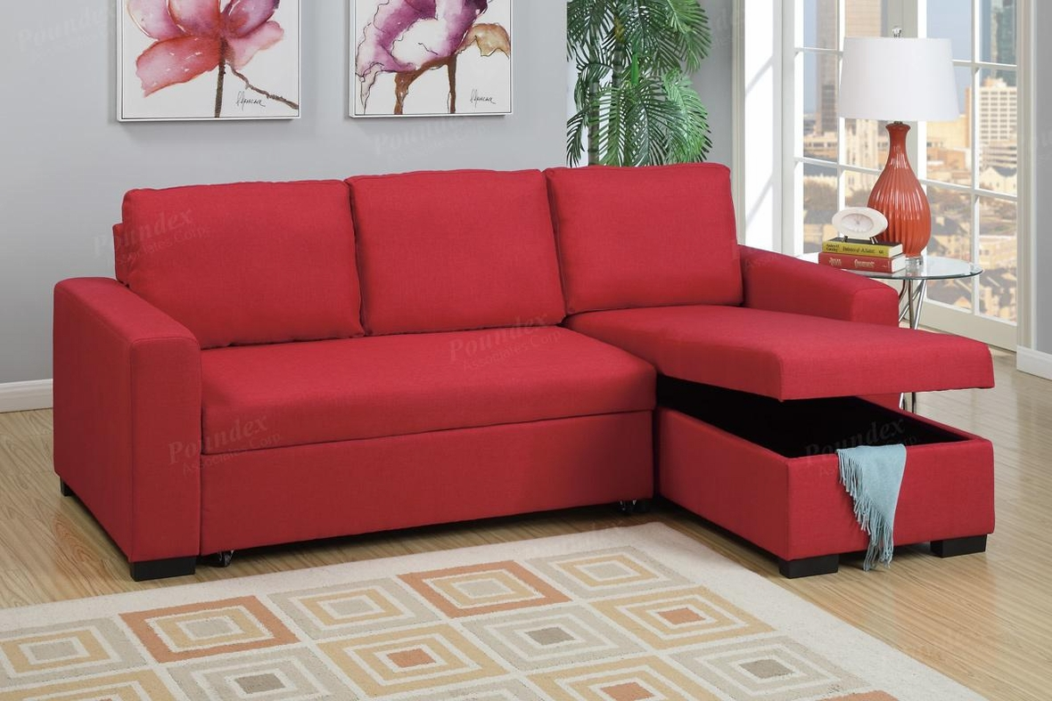 red fabric sofa garda leather next poundex samo f6933 sectional bed steal a