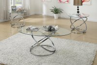 Poundex F3087 Silver Glass Coffee Table Set - Steal-A-Sofa ...