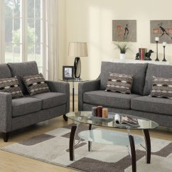 Sofa And Loveseat Set Up Slipcovers Poundex Avery F7544 Grey Fabric