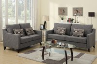 Poundex Avery F7544 Grey Fabric Sofa and Loveseat Set ...