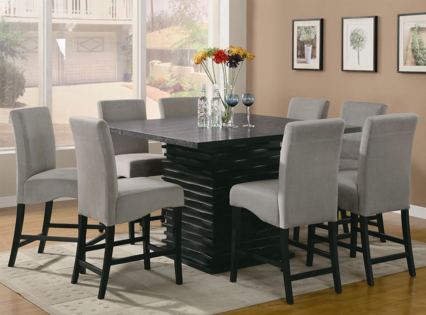 black square pub table and chairs vinyl chair cleaner coaster stanton 102068 102069gry wood set