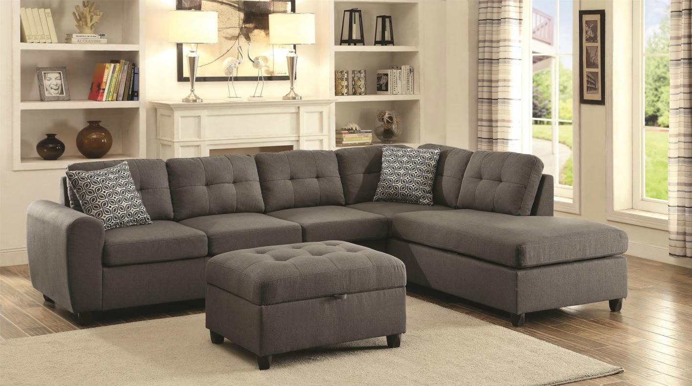 sectonal sofa best cheap sectional coaster stonenesse 500413 grey fabric
