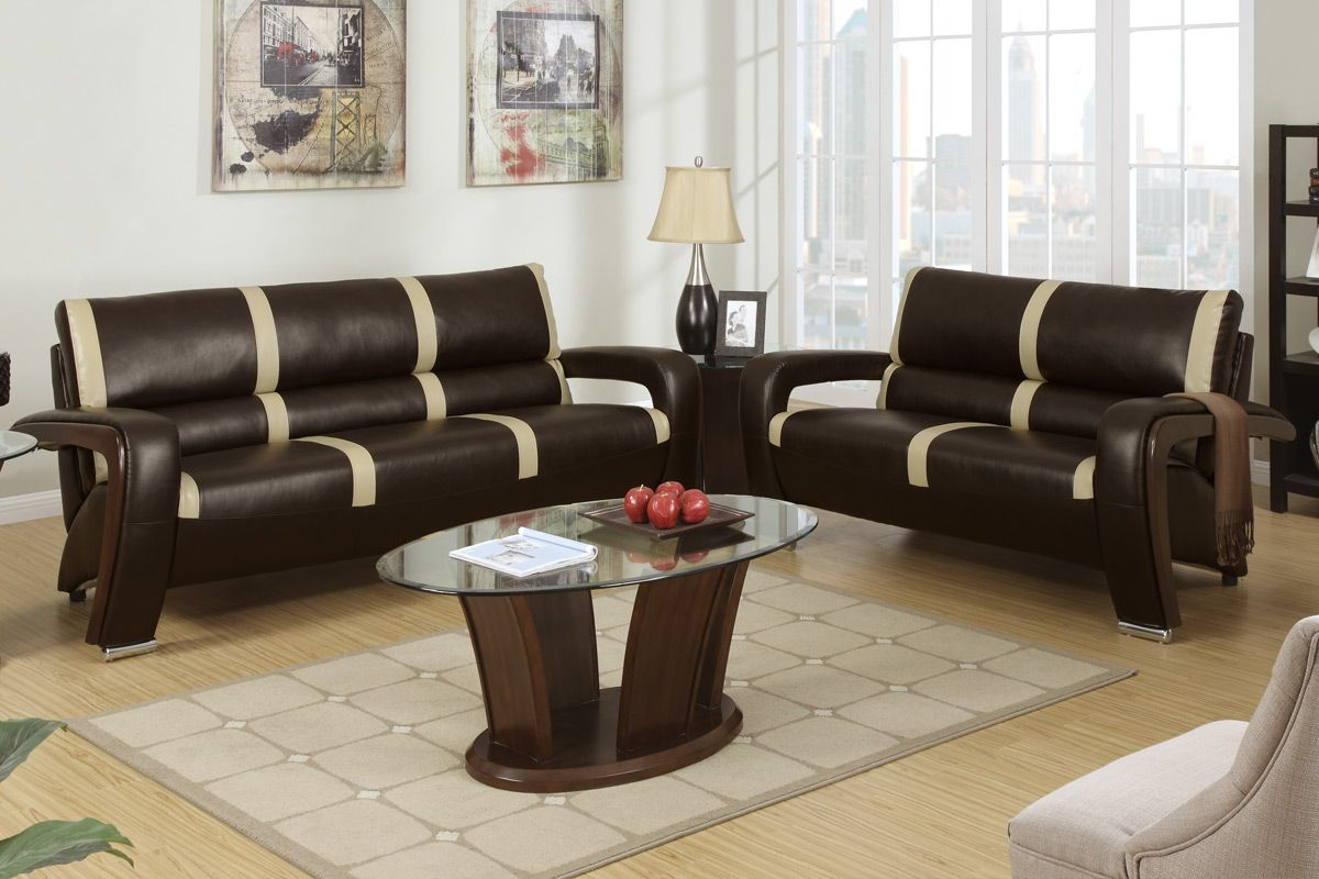 espresso bonded leather reclining sofa loveseat set throw pillows for walmart poundex tabby f7252 brown and beige
