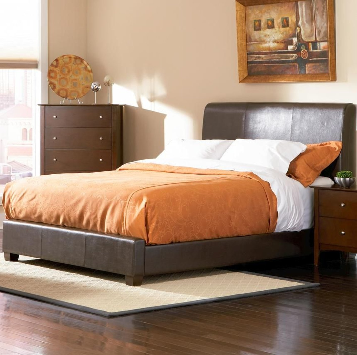 Coaster Kw Brown California King Size Leather Bed