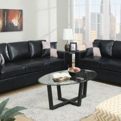 Leather Couch And Chair Set Folding Feet Poundex Tesse F7598 Black Sofa Loveseat