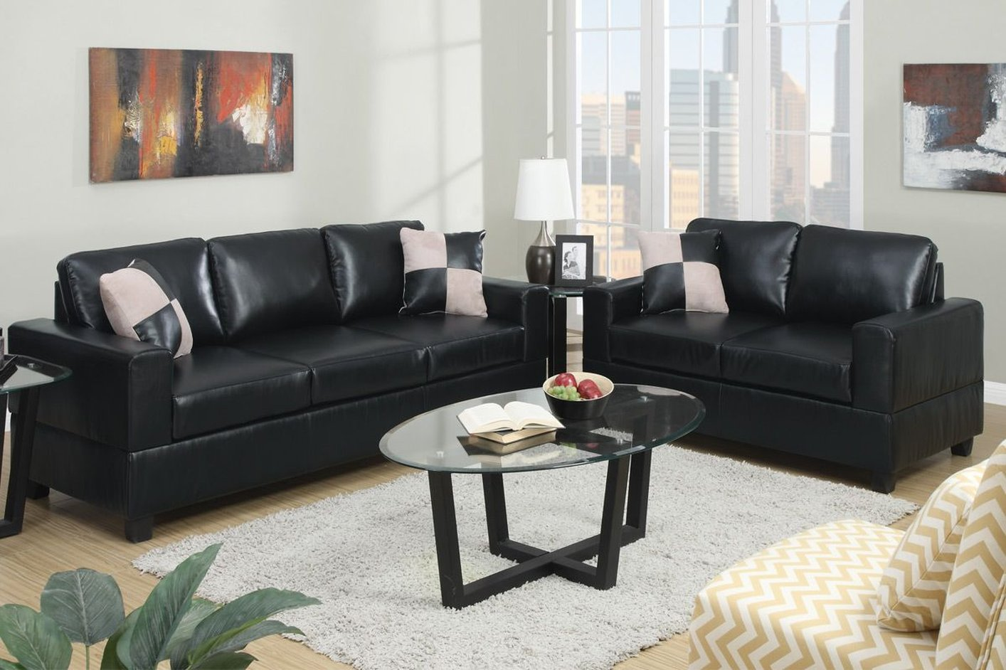 sofa and loveseat set up de madeira usado para vender poundex tesse f7598 black leather
