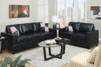 Poundex Tesse f7598 Black Leather Sofa and Loveseat Set ...