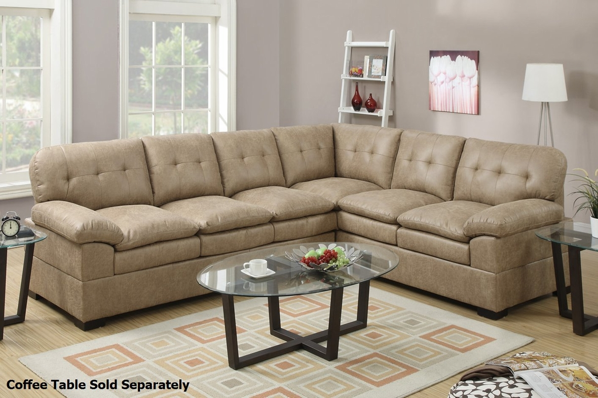 tyson sectional sofa contemporary grey leather poundex f7684 brown fabric steal a