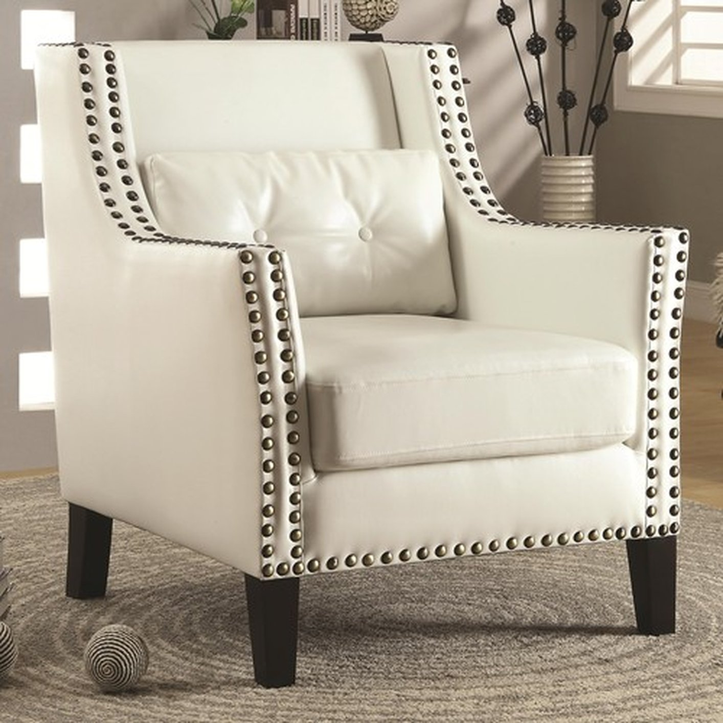 white leather sofa with nailheads how to measure a sectional coaster 902225 accent chair steal