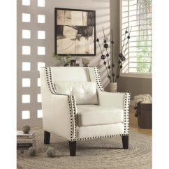 White Leather Accent Chair Modern Fishing Parts Coaster 902225 Steal A Sofa