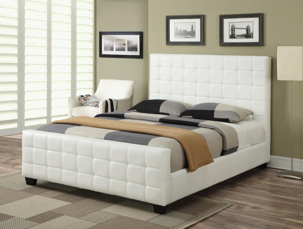 Coaster 300040Q White Queen Size Leather Bed  StealASofa Furniture Outlet Los Angeles CA