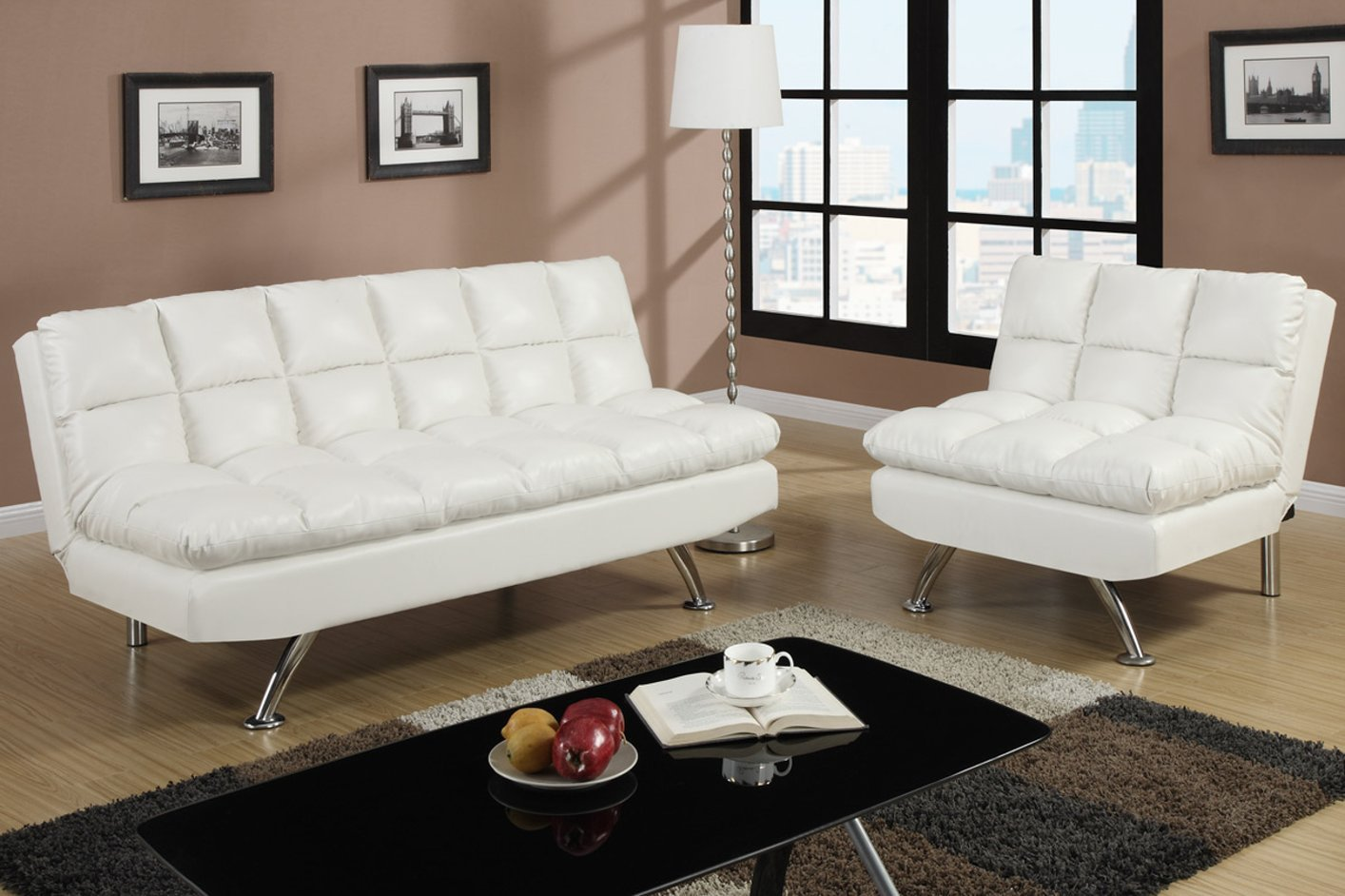 white twin sofa bed in spanish poundex f7015 size leather steal a