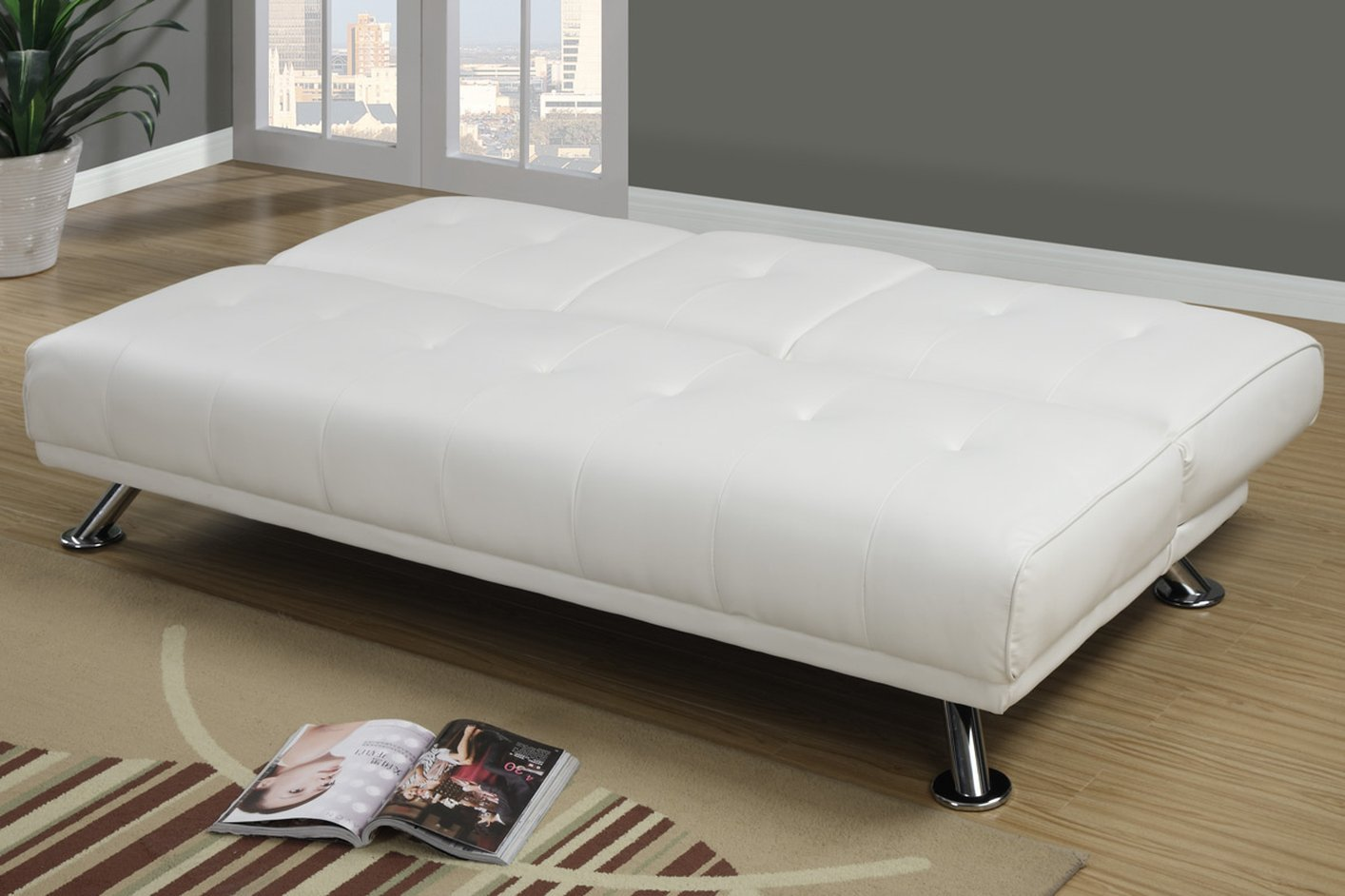 twin size sleeper sofa mattress pictures of tables poundex f7029 white leather bed steal a