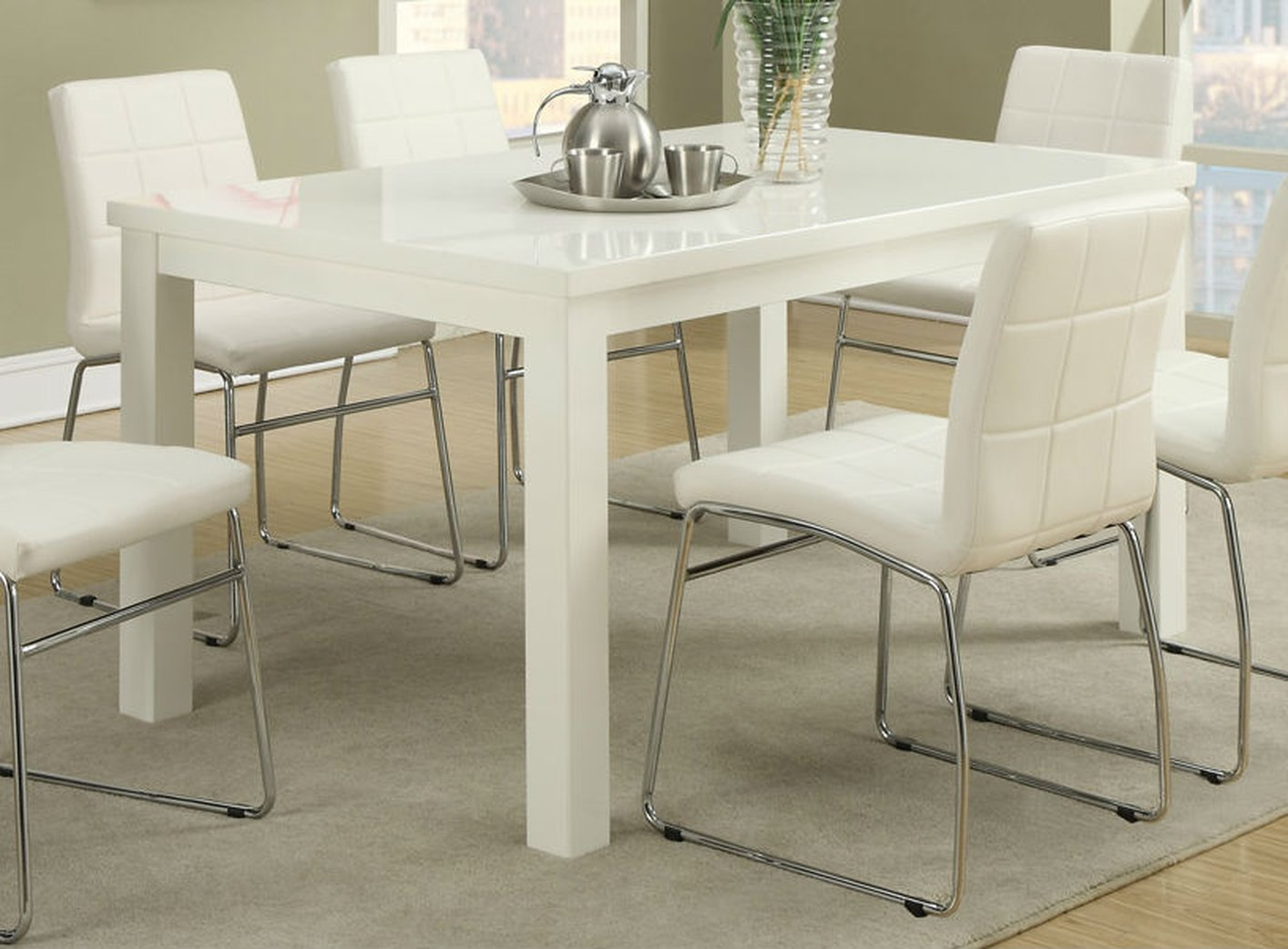 Poundex F2407 White Wood Dining Table  StealASofa