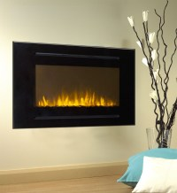 "40"" Black Electric Fireplace Forte 28""H Tallest Flame ..."