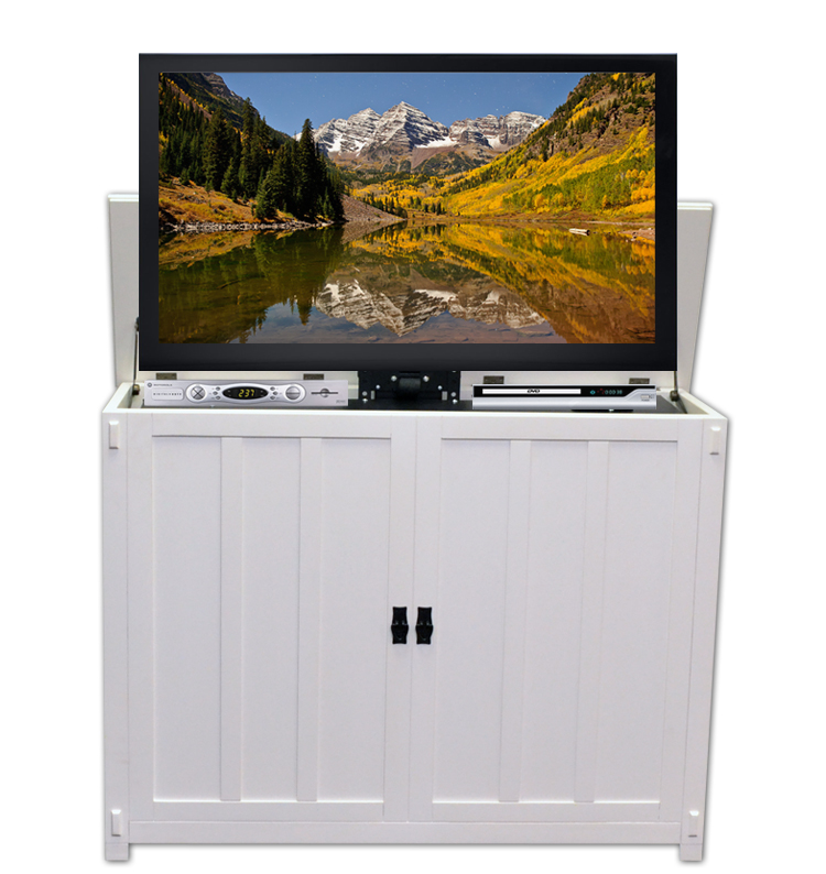 Elevate Mission White TV Lift Cabinet for Flat Screen TVs