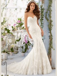 Mori Lee Blu 5413 Sweetheart Lace Floor Length Bridal Gown ...