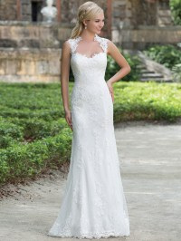 Sincerity 3885 Queen Anne Lace Straight Bridal Dress