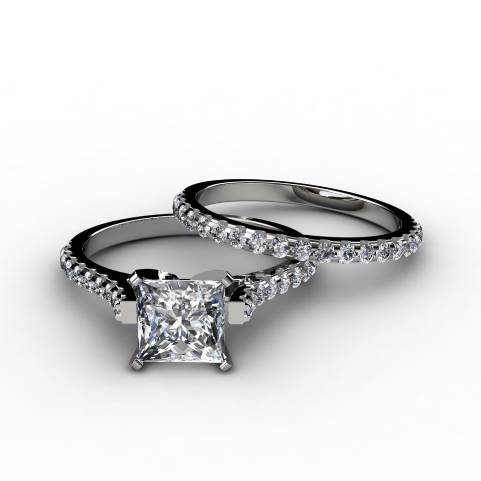 Bridal Sets: Bridal Sets Wedding Rings Princess Cut