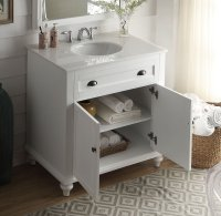34 inch Bathroom Vanity Cottage Beach Style White Color ...