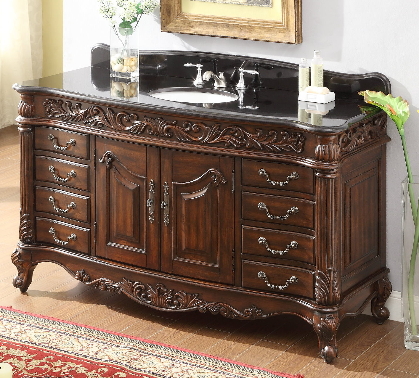 60 inch Bathroom Vanity Traditional Rich Cherry Cabinet