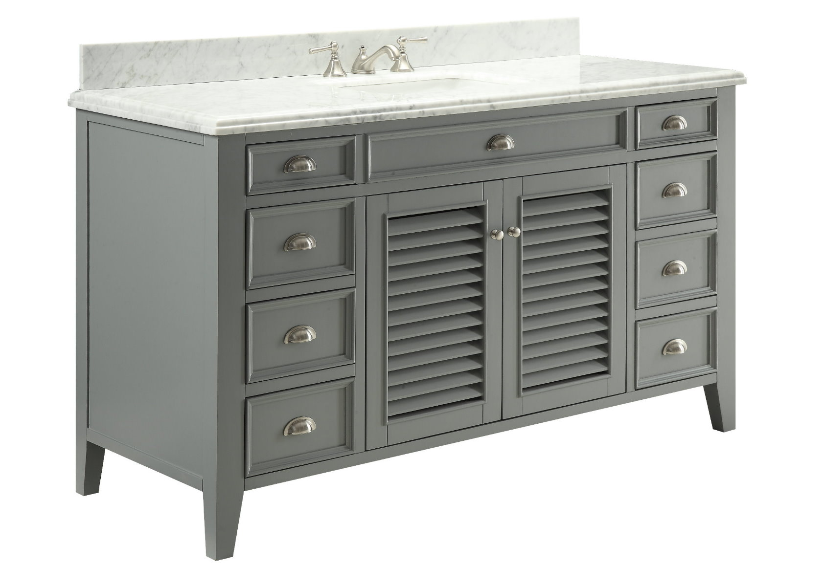 60 inch Gray Bathroom Sink Vanity Italian Marble Carrara