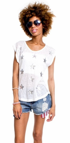 Sheer White Star Top
