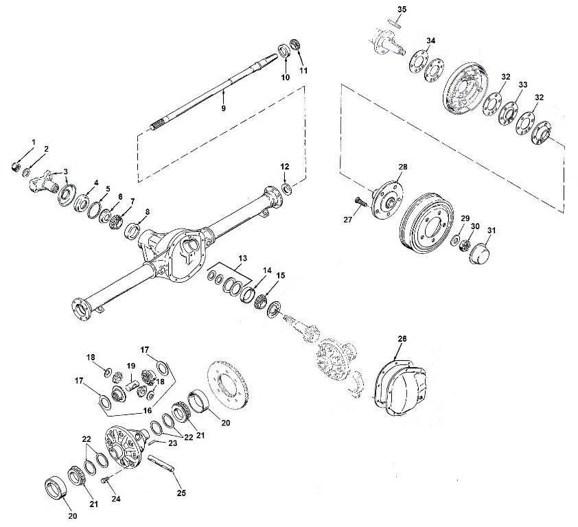 Jeep Dana 44 Tapered Axle Parts, Jeep Dana 41 Tapered Axle