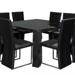 54 Inch Square Glass Top Dining Table With Brushed Metal Apron Arctic Lacquer Leg Base And Eight Dining Side Chairs By Diamond Sofa