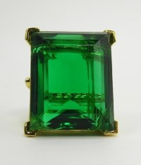 Kenneth Jay Lane Large Emerald Green Crystal Cocktail Ring