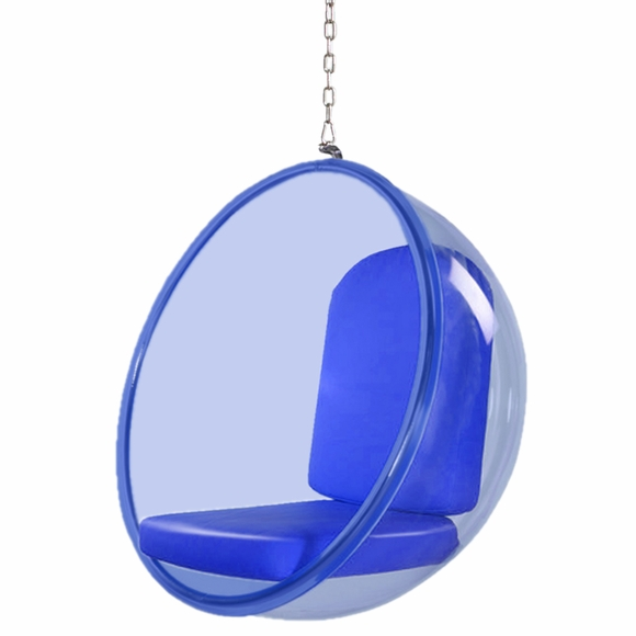 acrylic side chair with cushion office no arms bubble hanging blue - modern in designs