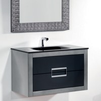 Danya Silver Leather Modern Bathroom Vanity 32 Inch