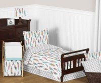 Feather Turquoise and Coral Toddler Bedding Collection
