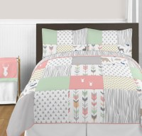 Woodsy Coral, Mint and Grey Full/Queen Bedding Collection