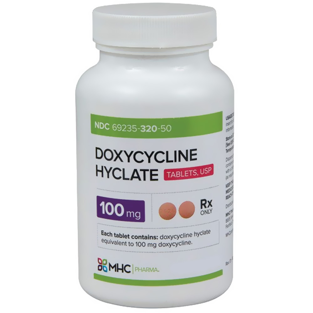 Doxycycline Hyclate 100mg (500 tabs) (Manufacture may vary)