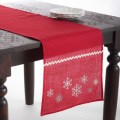 Embroidered snowflake table runner red