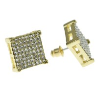 Square Earrings Gold Tone 14MM - Earrings