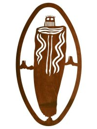 "22"" Oval Petroglyph Barrier Canyon Ghost Metal Wall Art ..."
