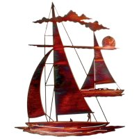"24"" Catch 'n Sail Floating Sailboat Metal Wall Art ..."