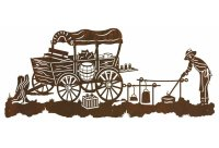 "57"" Old West Chuck Wagon Metal Wall Art - Western Wall Decor"