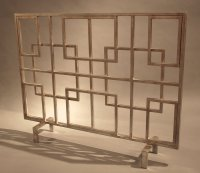 Antique Silver Squares Iron Fireplace Screen - Fire Screen ...