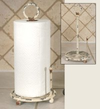 Antique White Provincial Metal Paper Towel Holder