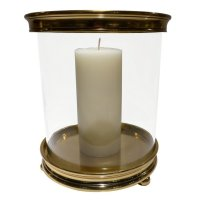 Large Gold Cylinder Aluminum Hurricane Candle Holder ...