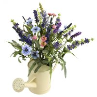 Lavender Silk Flower Arrangement with Watering Can ...