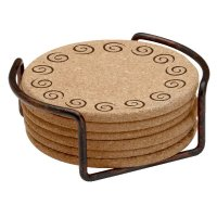 Swirls Cork Beverage Coasters with Steel Holders, Set of ...