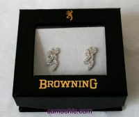Browning Buckmark Clear Bling Earrings Jewelry